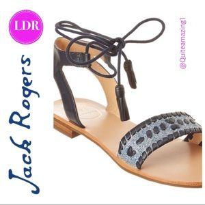 New! Midnight Blue Tate Raffia Jack Rogers Sandals